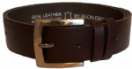"38mm Bucklebox Chocolate Leather Belt with Detachable Buckle 1½"" wide"